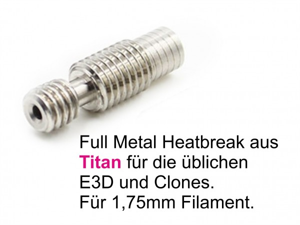 Heatbreak 1,75mm M6 / M7 TITAN all metal RepRap 3D Printer E3D Hotends Clones